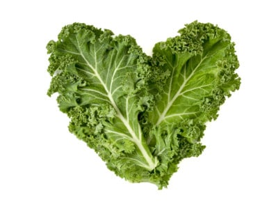 kale leaves forming a heart