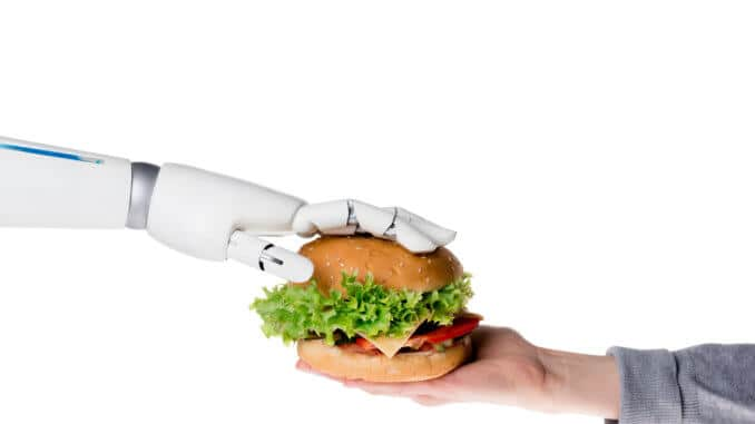 robot and burger