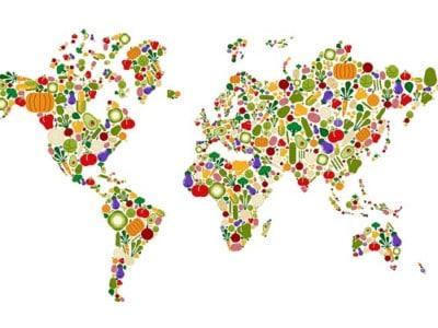Vegetable world map planet
