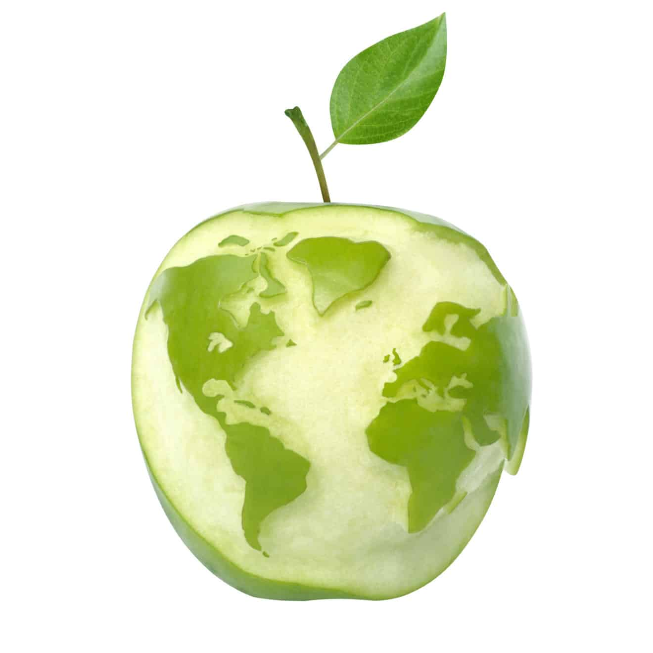 green apple with world map