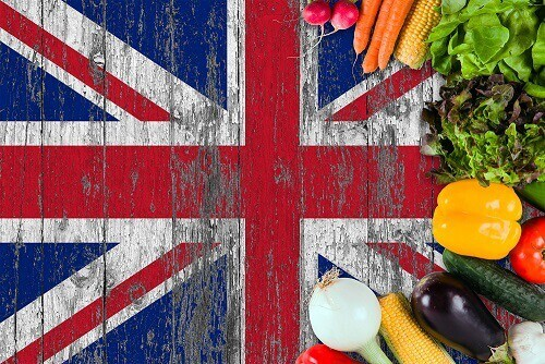 UK British flag veg England