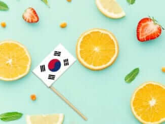South Korea Paper Stick Flag. National summer fruits concept, local food market. Vegetarian theme.