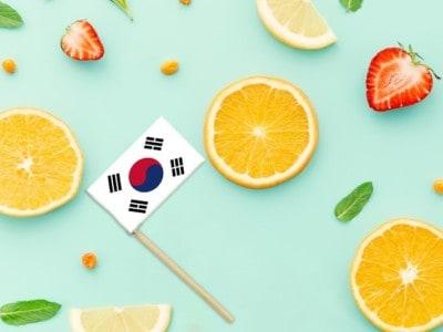 South Korea Paper Stick Flag. National summer fruits concept, local food market. Vegetarian theme.
