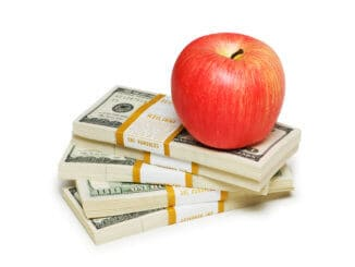 Red apple and dollar notes isolated on the white