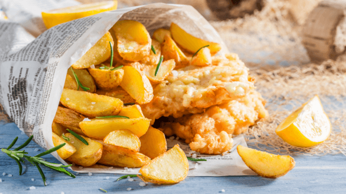 vegane Fish and chips bei greene king flamming grill
