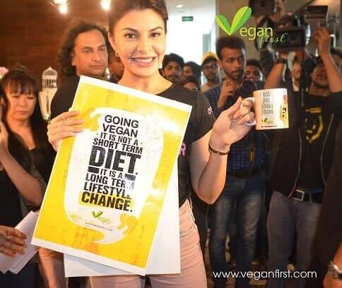 Jaqueline Fernandez, vegan actress showing Vegan First her support.jpg