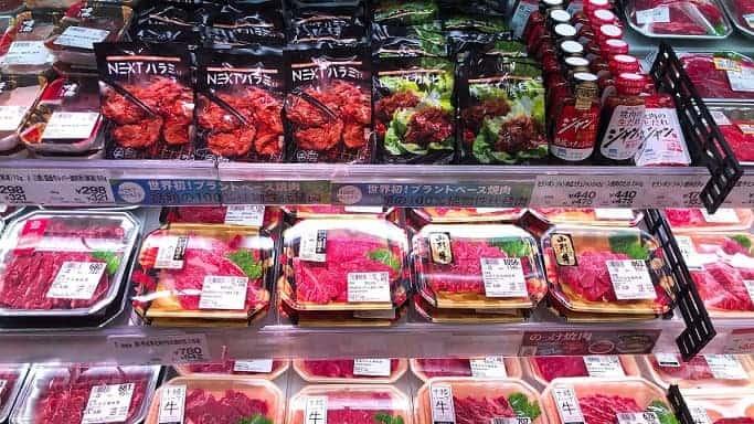 NEXT Meats Harami (skirt steak) and NEXT Kalbi (short-rib) displayed in the meat corner of superstore Ito Yokado.