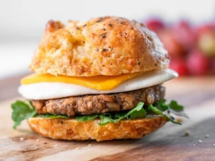 Plant-Based Breakfast Biscuits featuring Sweet Earth Vegan Sausage and Cheeze