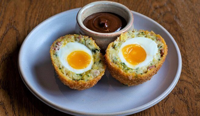 THIS Isn't Bacon Meat-Free Scotch Egg at Harwood Arms