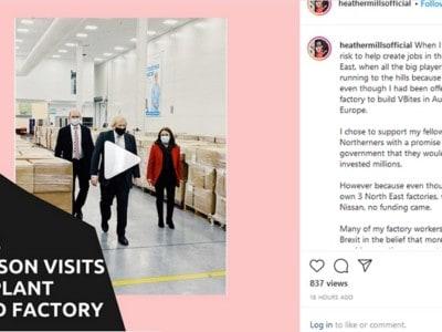 Boris jJohnson / VBites visit Heather Mills Instagram