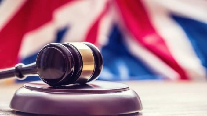 British law, gavel, flag