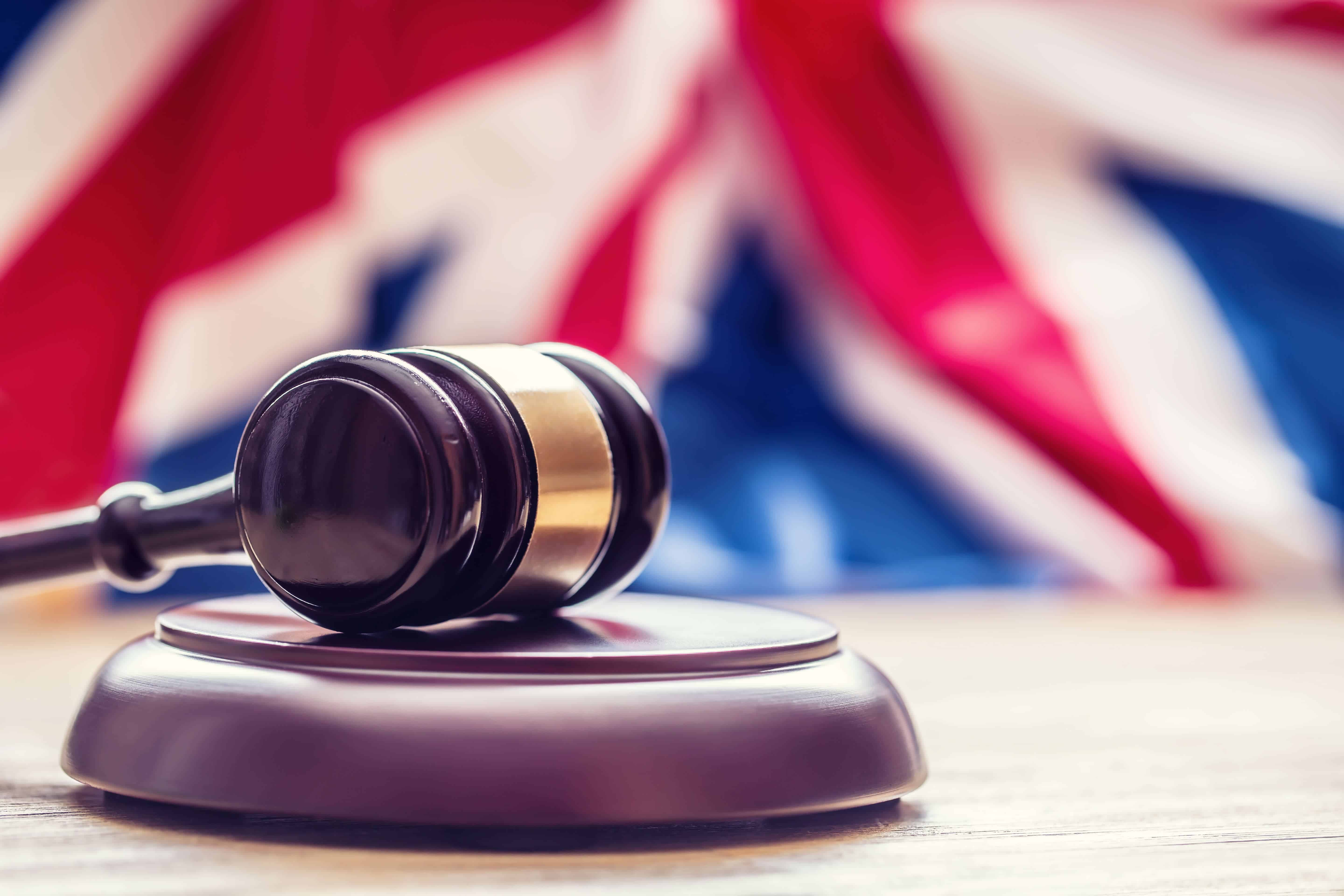 British law, gavel, flag