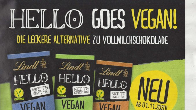 """Swiss chocolate company Lindt has announced it is adding three vegan """"milk"""" chocolate bars to its HELLO range in Germany."""