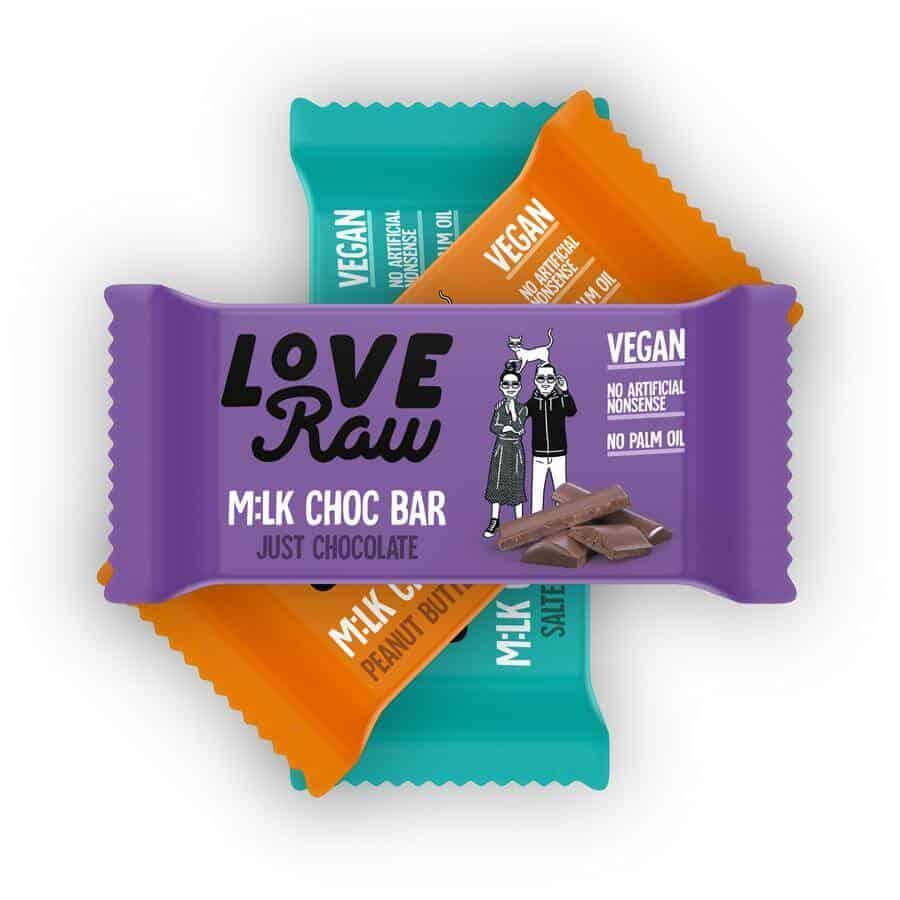 loveraw vegan milk chocolate bars
