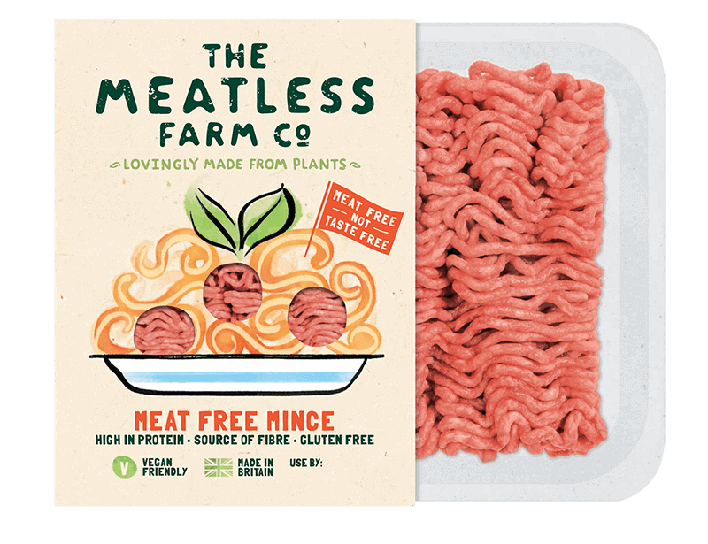 """The Meatless Farm creates plant-based mince and burgers for everyday cooking that are promoted as """"meat-free, not taste-free."""""""