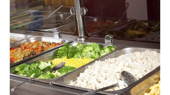 a lunch service station in a school cafeteria