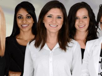 5 vegane Business-Frauen in einer Reihe