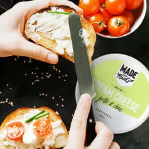 made with plants Garlic and Chive dairy-free Cream Cheese