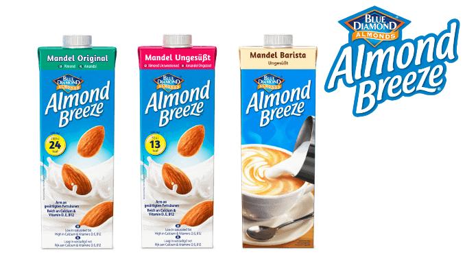 Neue Sorten Mandelmilch von Almond Breeze Blue Diamond